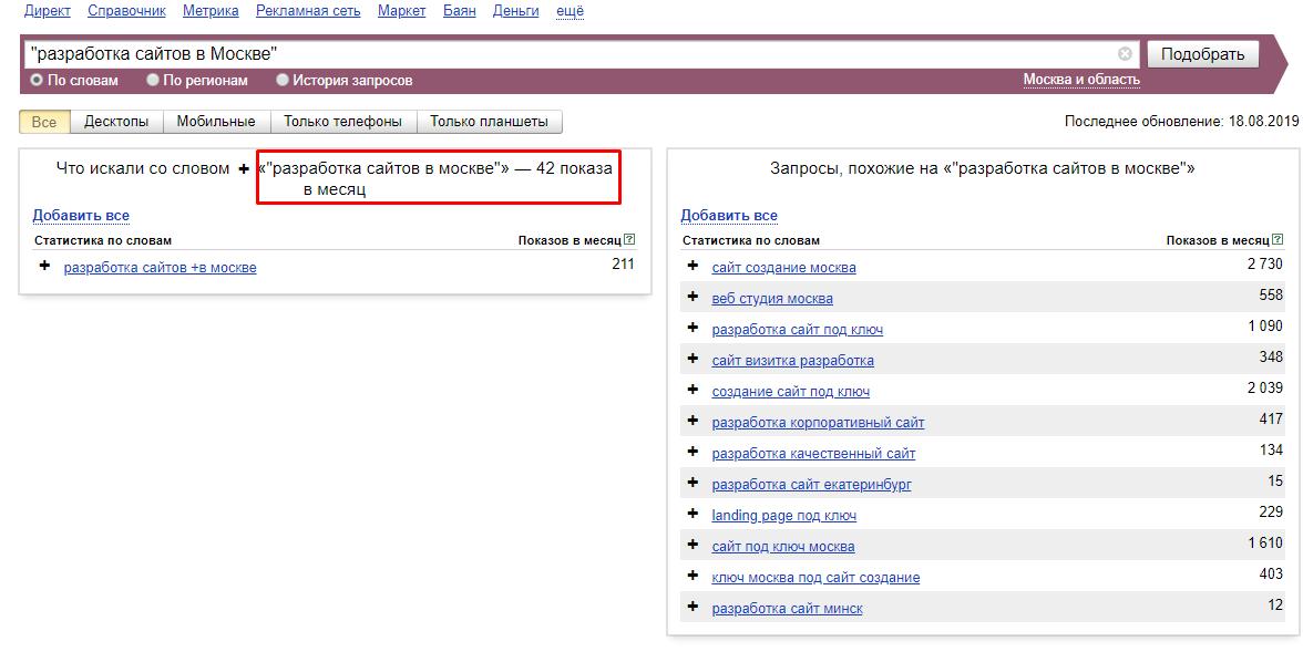 Частотность запросов в Вебмастере