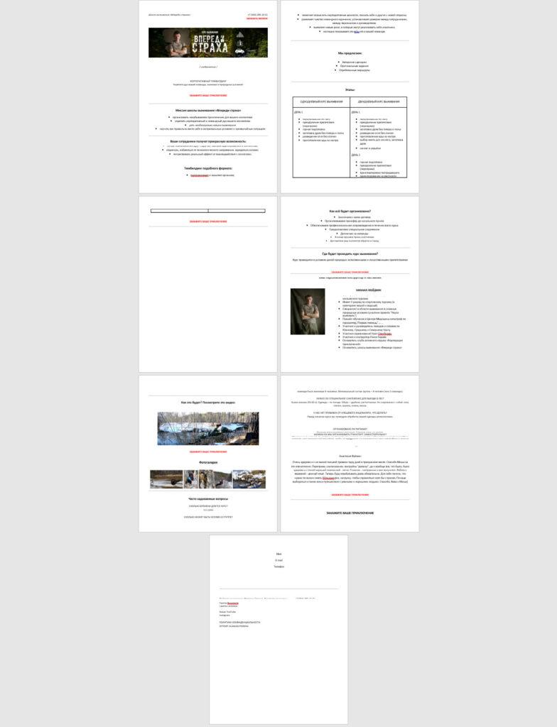 прототип одностраничного сайта